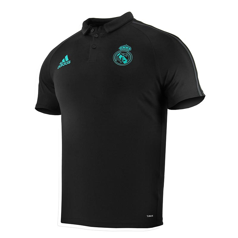 Polo R.Madrid 17/18 - Polo oficial del Real Madrid 2017/2018 - Negro/Azul Turquesa - frontal