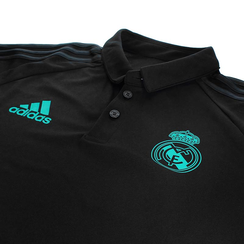 Polo R.Madrid 17/18 - Polo oficial del Real Madrid 2017/2018 - Negro/Azul Turquesa - cuello