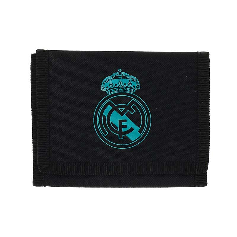 Cartera del R.Madrid 17/18 - Billetero adidas oficial del Real Madrid 2017/2018 - Negro/Azul Turquesa - frontal