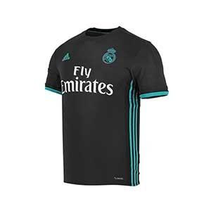 Camiseta segunda R. Madrid La Liga 17/18 - Camiseta 2a equipación Real Madrid 2017 - 2018 Liga Santander - Negro / Azul - frontal