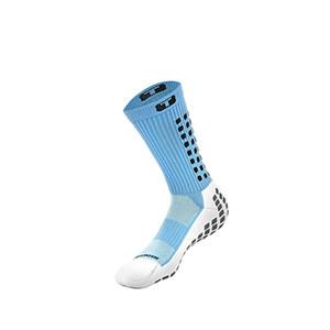 Calcetines antideslizantes acolchados - Calcetines Trusox de media caña antideslizantes gruesos - Azul Celeste - frontal